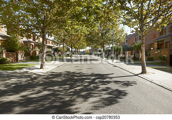 Quiet street view in a residential area - csp20780353