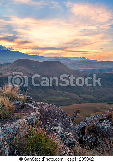 Quiet sunset over mountains - csp11205362