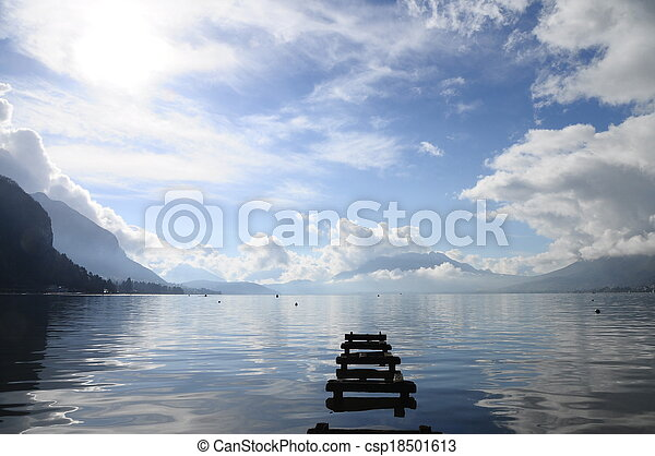 Quiet view of Annecy lake - csp18501613