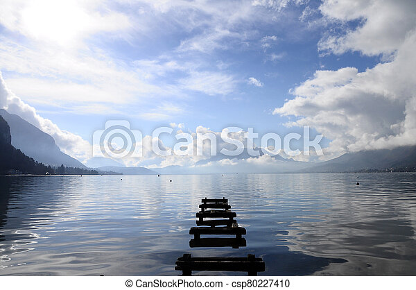 Quiet view of Annecy lake - csp80227410