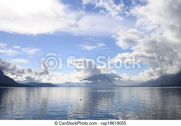 Quiet view of Annecy lake - csp18619055