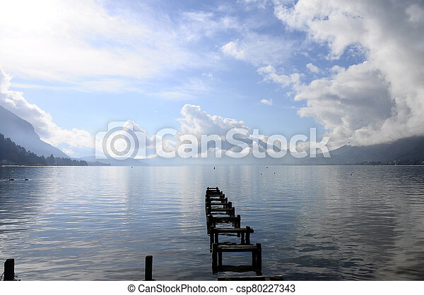 Quiet view of Annecy lake - csp80227343