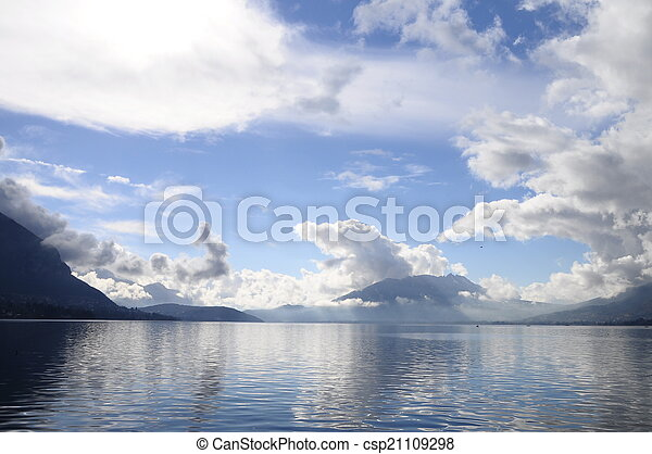 Quiet view of Annecy lake - csp21109298