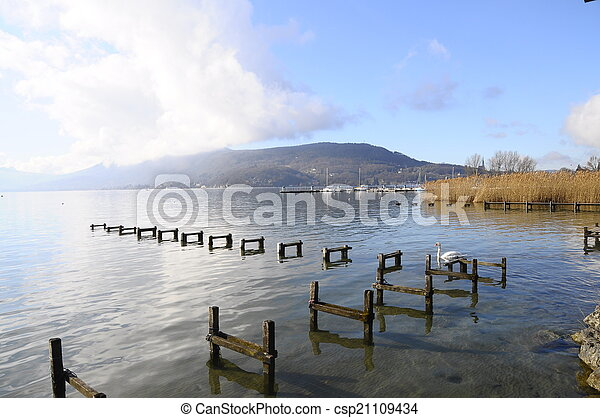 Quiet view of Annecy lake - csp21109434