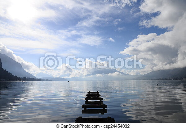 Quiet view of Annecy lake - csp24454032