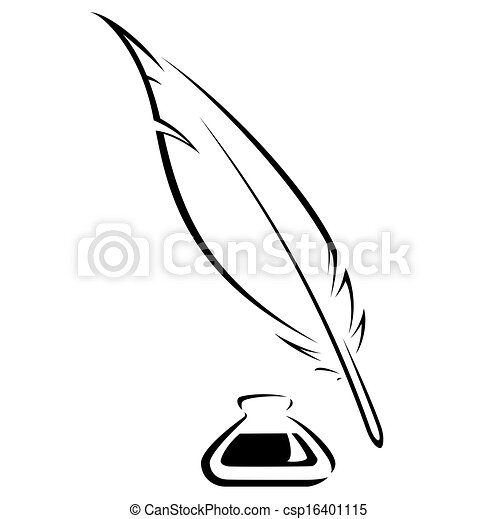 quill and ink pot black vector icon simple quill and inkwell black rh canstockphoto com writing quill clipart quill clipart images