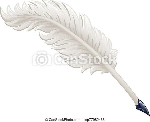 Quill Feather Ink Pen Cartoon Illustration - csp77982465