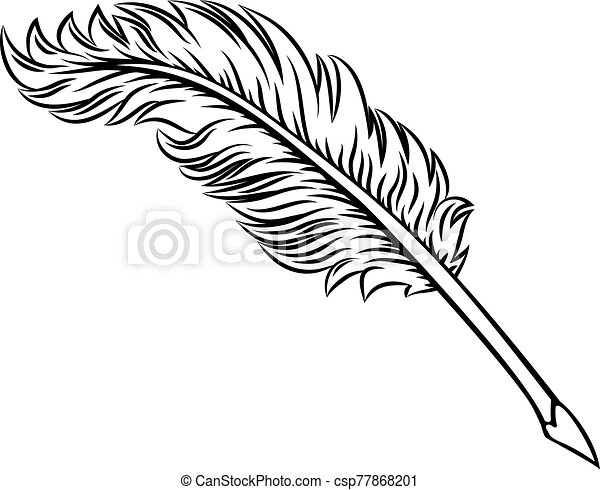 Quill Feather Ink Pen Icon Illustration - csp77868201