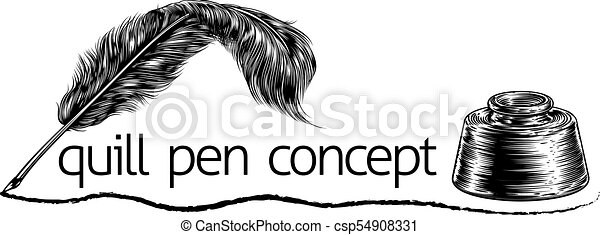 Quill Feather Pen and Inkwell Concept - csp54908331