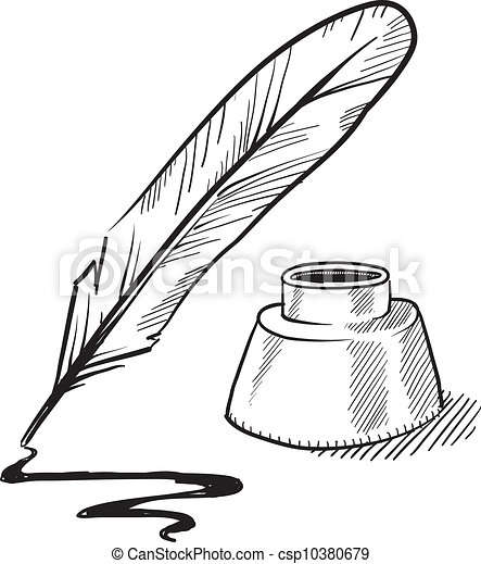 Quill pen and inkwell sketch - csp10380679