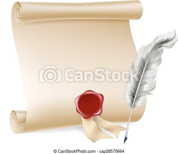 Quill pen and scroll with wax seal - csp28570664