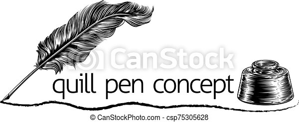 Blank scroll quill pen inkwell Writer set Vector Image