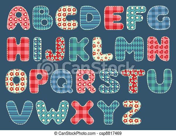 Quilt alphabet. - csp8817469