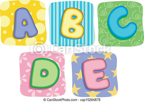 illustration of quilt alphabet letters a b c d e