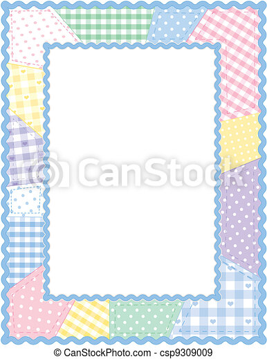 Quilt Frame Pastel Patchwork Pastel Gingham And Polka