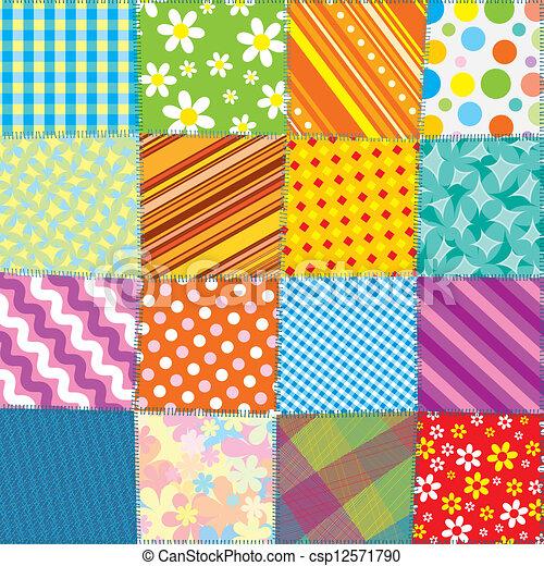 Quilt Patchwork Texture. Seamless Vector Pattern - csp12571790