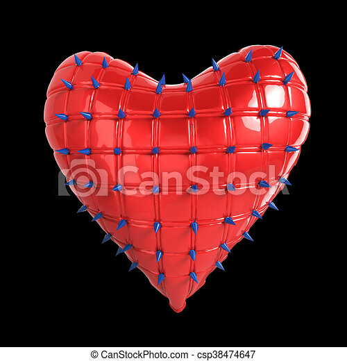 quilted heart with silver, kinky metal, steel spikes on surface, isolated black background  rendering. BDSM style valentine. - csp38474647