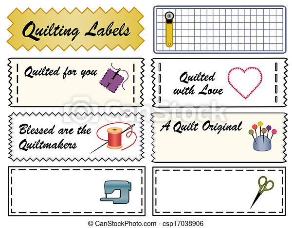 Vector Clipart Of Quilting Sewing Labels Quilt Sewing