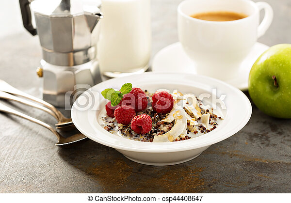 Quinoa porridge with raspberry and coconut flakes - csp44408647