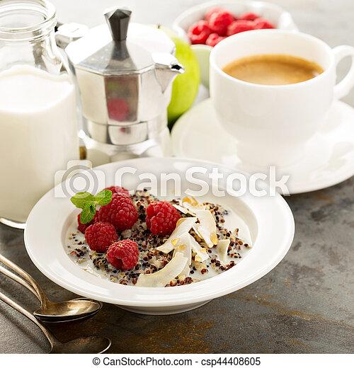 Quinoa porridge with raspberry and coconut flakes - csp44408605
