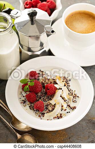 Quinoa porridge with raspberry and coconut flakes - csp44408608