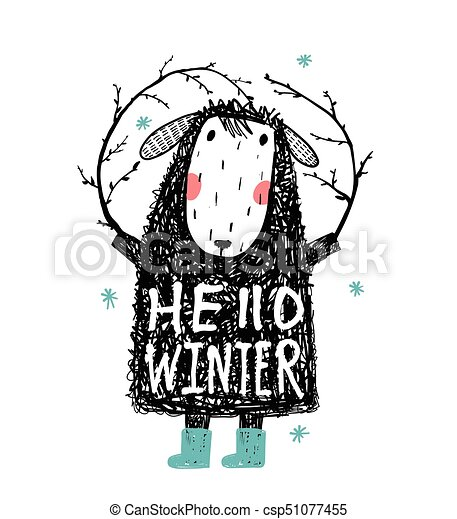 Quirky winter sheep in warm clothes hello winter csp51077455