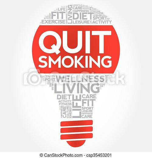 Quit Smoking bulb word cloud - csp35453201