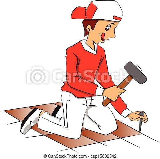 El vector del técnico martillando clavos para remover el suelo. - csp15802542