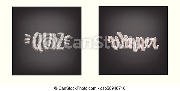 Quiz And Winner Handwritten Lettering On Chalkboard Card Vector Illustration