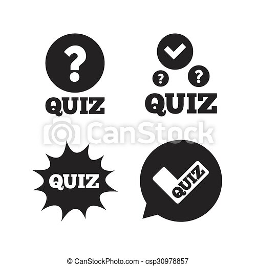 Quiz Icons Speech Bubble With Check Mark Symbol Explosion Boom