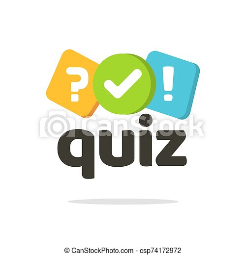 Quiz logo icon vector symbol, flat cartoon bubble speeches with question and check mark signs as competition game or interview logotype, poll questionnaire insignia isolated - csp74172972