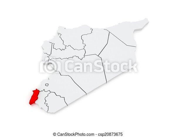 quneitra., landkarte, syria.