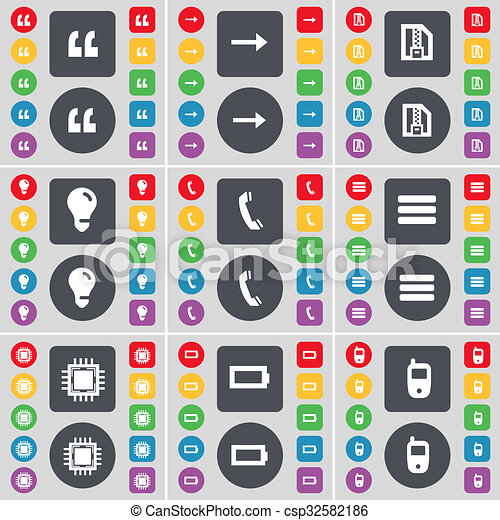 Quotation mark, Arrow right, ZIP file, Light bulb, Receiver, Apps, Processor, Battery, Mobile phone icon symbol. A large set of flat, colored buttons for your design. - csp32582186