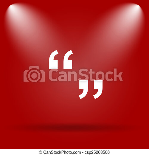 quotation marks icon flat icon on red background