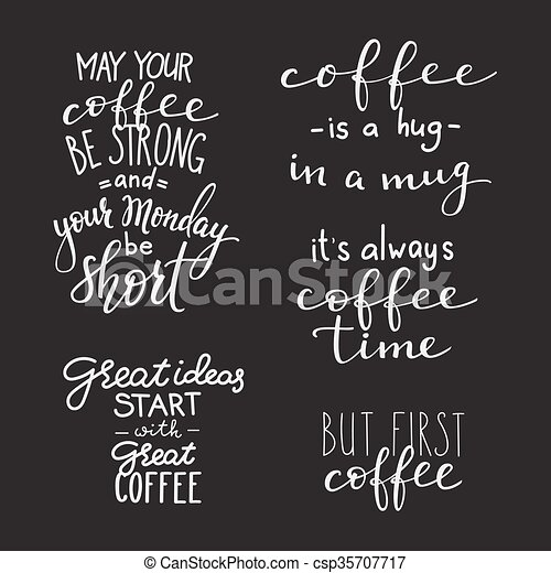 quote coffee typography set calligraphy style coffee quote