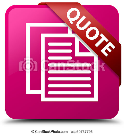 Quote (document pages icon) pink square button red ribbon in corner - csp50787796