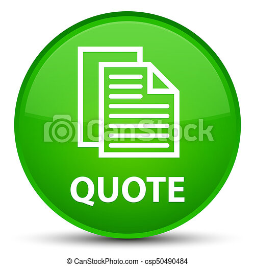 Quote (document pages icon) special green round button - csp50490484