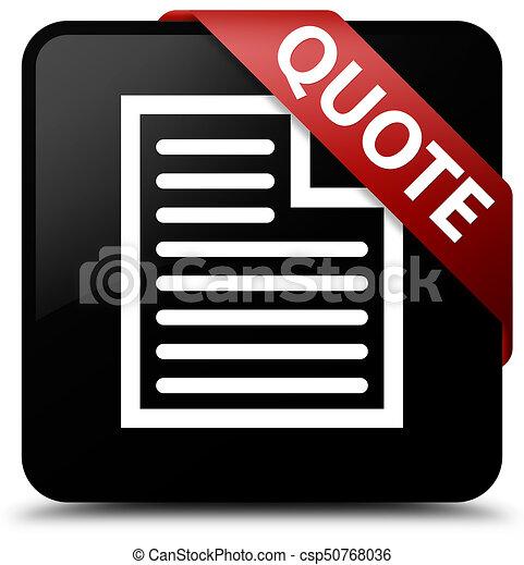 Quote (page icon) black square button red ribbon in corner - csp50768036