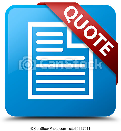 Quote (page icon) cyan blue square button red ribbon in corner - csp50687011