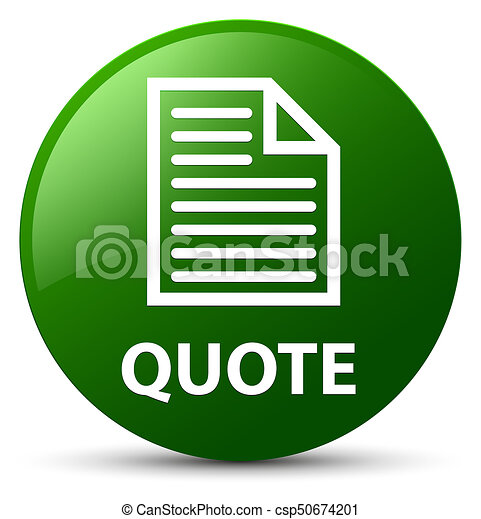 Quote (page icon) green round button - csp50674201