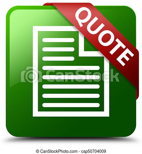 Quote (page icon) green square button red ribbon in corner - csp50704009