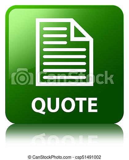 Quote (page icon) green square button - csp51491002