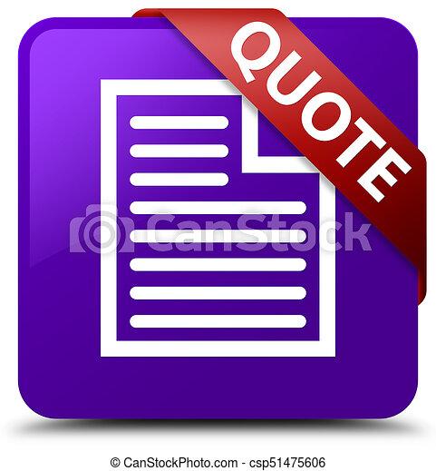 Quote (page icon) purple square button red ribbon in corner - csp51475606