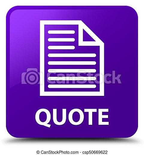 Quote (page icon) purple square button - csp50669622