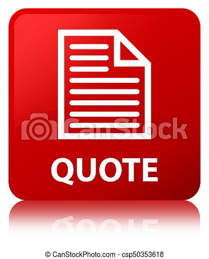 Quote (page icon) red square button - csp50353618