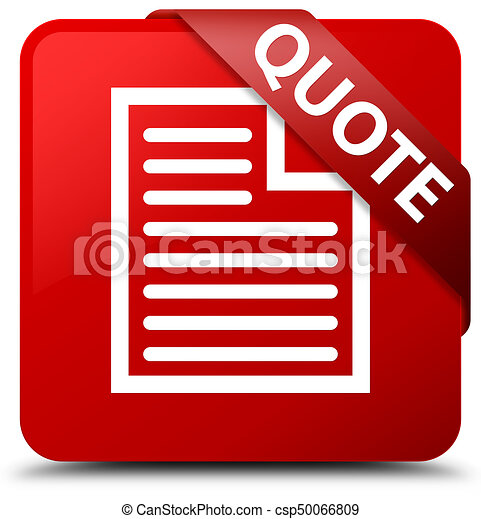 Quote (page icon) red square button red ribbon in corner - csp50066809