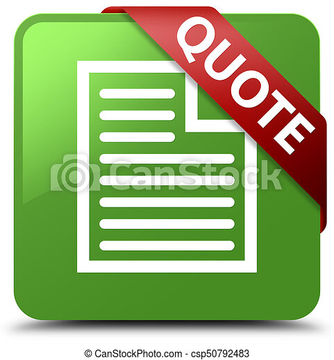 Quote (page icon) soft green square button red ribbon in corner - csp50792483