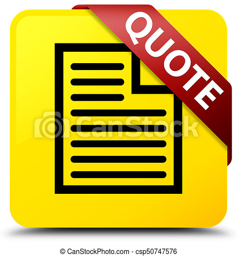 Quote (page icon) yellow square button red ribbon in corner - csp50747576