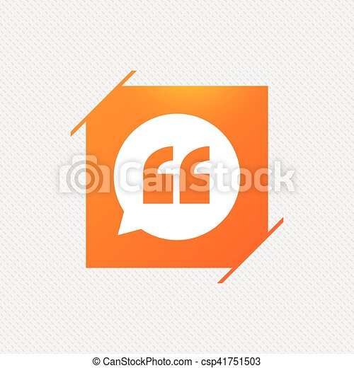 Quote sign icon. Quotation mark symbol. - csp41751503