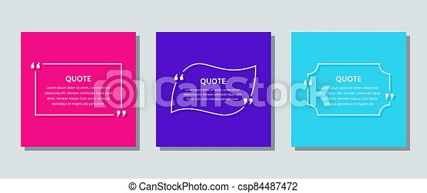 Quote text box. Template frame quotations. Vector color illustration. - csp84487472